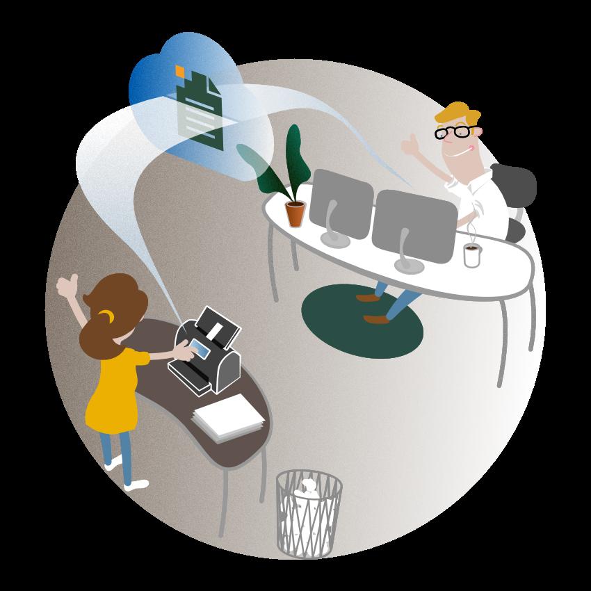 Digi-Bel Anwendungsbeispiel Beleg mit Scanner einfach über die Cloud zum Steuerberater senden