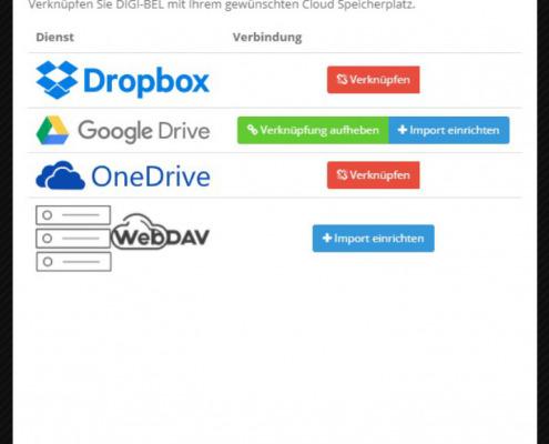 Screenshot zum Thema Digi-Bel-Datencloudsynchronisation