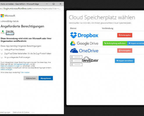 Screenshot zum Thema Digi-Bel-Datencloudsynchronisation