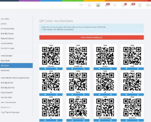 Screenshot zum Thema Digi-Bel-Belegvorbereitung mit QR-Codes