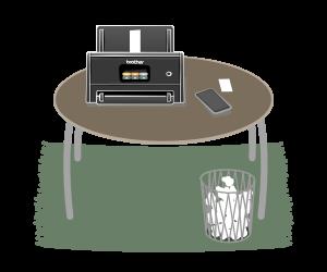 Digi-Bel für Aufsteiger, zeigt einen Tisch mit Scanner und Smartphone
