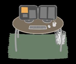 Digi-Bel für Optimierer, zeigt einen Tisch mit zwei Bildschirmen