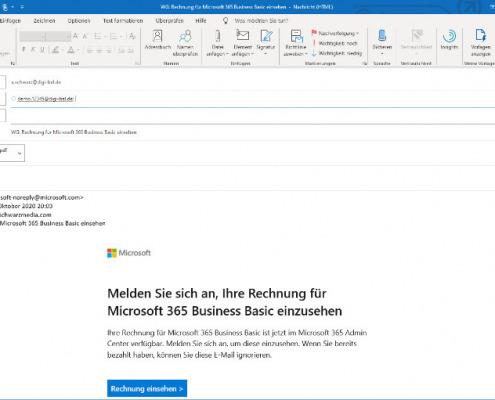 Screenshot zum Thema Digi-Bel-E-Mail-Weiterleitung